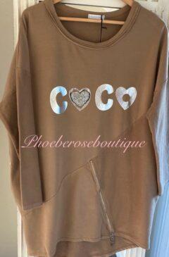 Coco Crystal Heart Logo Zip Hem Sweatshirt- Camel