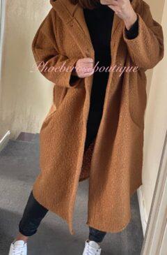 Cocoon Boucle Effect Oversized Hooded Coatigan - Tan