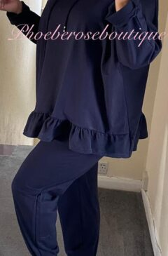 Frill Hem Hooded Lounge Suit - Navy
