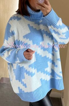Digital Print Chunky Knit Roll Neck Oversized Jumper - Baby Blue