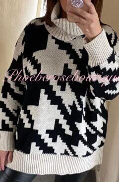 Digital Print Chunky Knit Roll Neck Oversized Jumper - Black/Beige