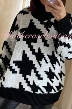 Digital Print Chunky Knit Roll Neck Oversized Jumper - Black/White