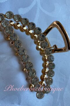 Clear Crystal Gold Toned Medium Hairclip