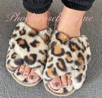 Lepo Crossover super fluffy Furry Sliders/Slippers - Beige