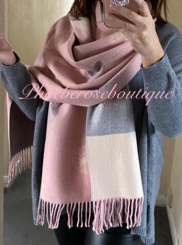 Ultra Soft Flower Contrast Stripe Extra Large Fringed Scarf - Soft Pink mix