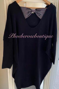 Sparkly Bow Back Soft Knit Dress/Tunic - Black