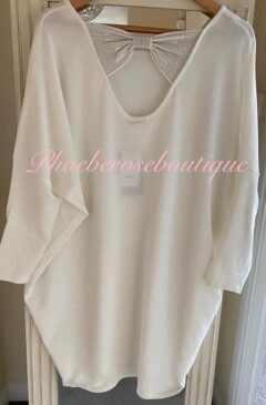 Sparkly Bow Back Soft Knit Dress/Tunic - Off White