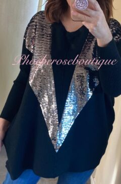 Sequin Flash Soft Ribbed Jumper - Black
