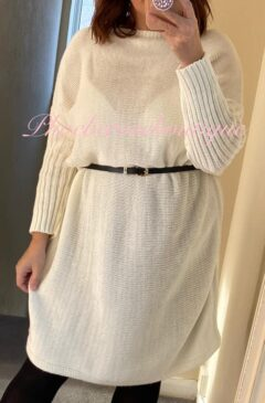 Knitted Jumper Dress - Belted - Oatmeal