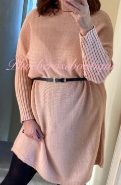 Knitted Jumper Dress - Belted - Soft Pink