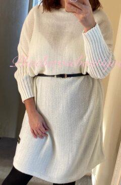Knitted Jumper Dress - Belted - Cream