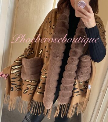 Lux Faux Fur Trim and Pocket Metallic Lepo Print Scarf/Wrap - Tan