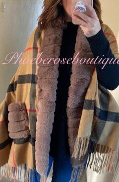Lux Faux Fur Trim and Pocket Contrast Check Design Scarf/Wrap - Tan