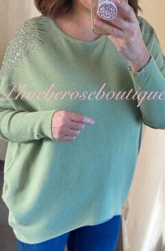 Sparkly Shoulder Embellished Soft Knit Rib Jumper - Lime