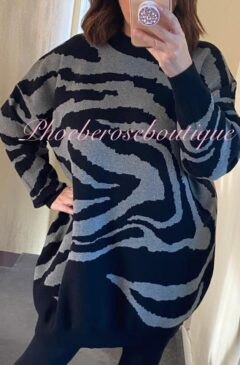 Lux Super Soft Knit Animal Print Dress/Longline Tunic - Grey/Black