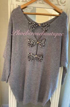 Triple Chiffon Lepo Bow Back Soft Ribbed Jumper - Soft Grey