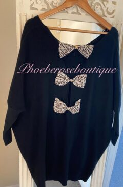 Triple Chiffon Lepo Bow Back Soft Ribbed Jumper - Black