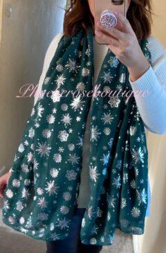 Snowflake Christmas Print Scarf - Dark Green