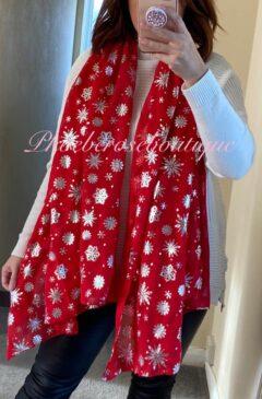 Snowflake Christmas Print Scarf - Red