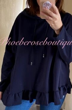 Frill Hem Hooded Lightweight Sweat Top - Navy