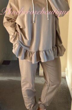 Frill Hem Hooded Lounge Suit - Camel