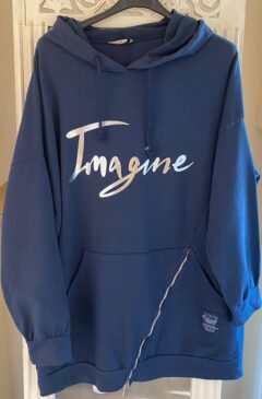 'Imagine' logo hooded longline top - Navy