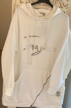 'Imagine' logo hooded longline top - White