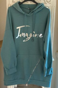 'Imagine' logo hooded longline top - Jade