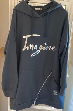 'Imagine' logo hooded longline top - Dark Grey