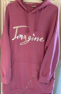 'Imagine' logo hooded longline top - Rose Pink