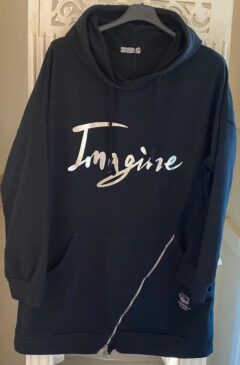 'Imagine' logo hooded longline top - Black