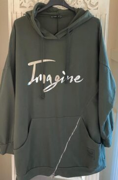 'Imagine' logo hooded longline top - Khaki