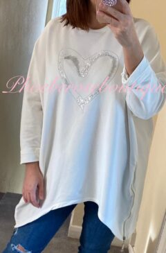 Oversized Sequin Heart Logo Zip Side Sweatshirt - White