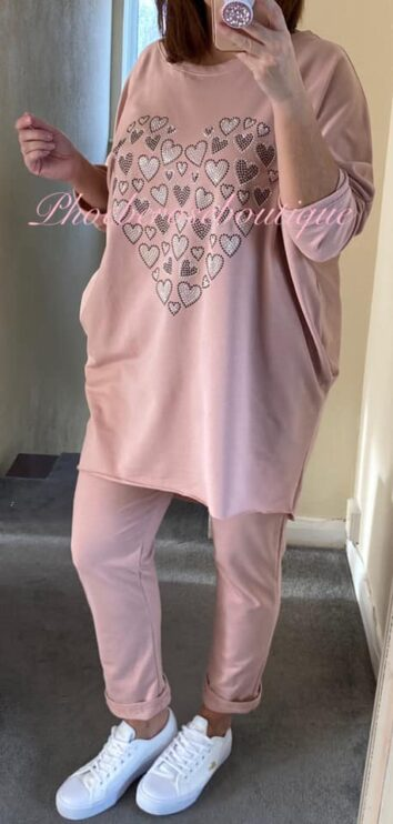 Sparkly Heart 2 Piece Set/Suit - Pink