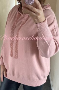 Lux Super Soft Knit Diamante Trim Hooded Jumper - Soft Pink