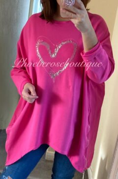 Oversized Sequin Heart Logo Zip Side Sweatshirt - Hot Pink
