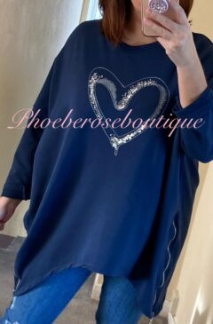 Oversized Sequin Heart Logo Zip Side Sweatshirt - Navy