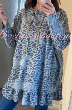Animal Print Longline Frill Hem Hooded Top - Soft Grey