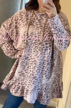 Animal Print Longline Frill Hem Hooded Top - Dusky Pink