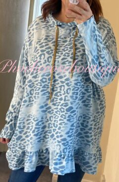 Animal Print Longline Frill Hem Hooded Top - Soft Blue