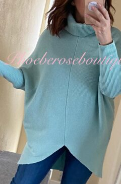 Soft Ribbed Slouch Roll Neck Hi/Low Jumper - Mint