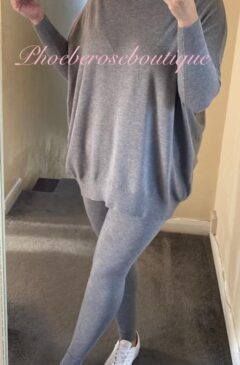 2 Piece Soft Stretch Knit Suit - Grey
