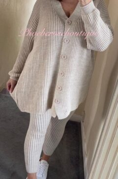 Soft Knit Ribbed Button 2 Piece Loungesuit - Nude
