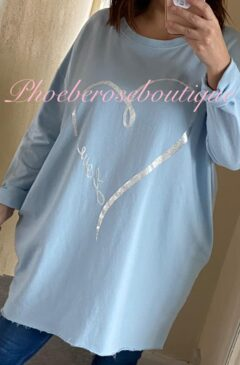 Metallic Love Design Lightweight Pocket Sweat Top/Tunic - Baby Blue