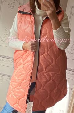 Lux Hooded Padded Gilet - Peach