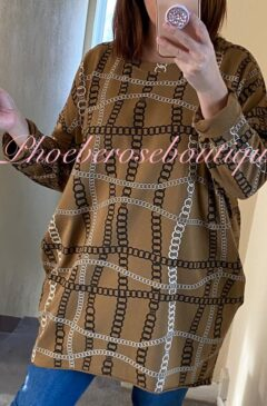 Chain Print Loose Fit Jersey Pocket Tunic/Top - Tan