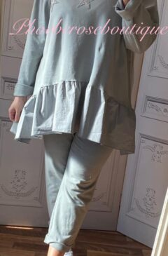 Sparkly Embellished Star Frill Hem Loungesuit - Soft Grey