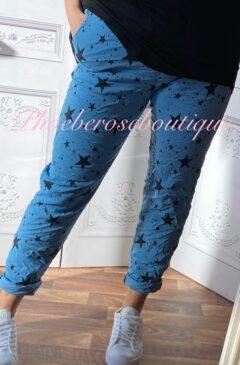 Magic Super Stretch Star Print Trousers - Denim Blue