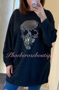 Sparkly Skull Embellished Sweat Zip Back Top - Black