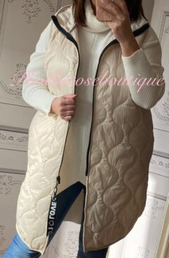 Lux Hooded Padded Gilet - Cream